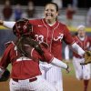 Alabama\'s Jackie Traina reacts after beating Arizona State during a Women\'s College World Series game at ASA Hall of Fame Stadium in Oklahoma City, Friday, June 1, 2012. Photo by Bryan Terry, The Oklahoman