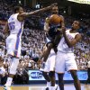 Tony Allen of Memphis goes between Oklahoma City\'s Kevin Durant and Serge Ibaka during Game 5 in the second round of the NBA playoffs between the Oklahoma City Thunder and the Memphis Grizzlies at Chesapeake Energy Arena In Oklahoma City, Wednesday, May 15, 2013. Photo by Bryan Terry, The Oklahoman
