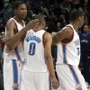 NBA BASKETBALL GAME / REACTION: Oklahoma City\'s Kevin Durant, Russell Westbrook and Desmond Mason react after losing the Cleveland Cavaliers, Sunday, Dec. 21, 2008, at the Ford Center in Oklahoma City. PHOTO BY SARAH PHIPPS, THE OKLAHOMAN ORG XMIT: KOD