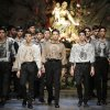 A model wears a creation of Dolce & Gabbana men\'s Fall-Winter 2013-14 collection, part of the Milan Fashion Week, unveiled in Milan, Italy, Saturday, Jan. 12, 2013. (AP Photo/Antonio Calanni)