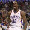 Photo - Oklahoma City Thunder forward Jeff Green reacts after a dunk against the Los Angeles Lakers in the fourth quarter of an NBA basketball game in Oklahoma City, Tuesday, Nov. 3, 2009. Green had 18 points for the Thunder, but Los Angeles won the game 101-98. (AP Photo/Sue Ogrocki) ORG XMIT: OKSO110
