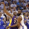 Los Angeles\' Kobe Bryant and Oklahoma City\'s James Harden battle for position during Game 2 in the second round of the NBA playoffs between the Oklahoma City Thunder and the L.A. Lakers at Chesapeake Energy Arena on Wednesday, May 16, 2012, in Oklahoma City, Oklahoma. Photo by Chris Landsberger, The Oklahoman