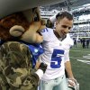 The Dallas Cowboys mascot Rowdy, left, congratulates Dan Bailey (5) on his game winning field goal against the Cleveland Browns in overtime of an NFL football game Sunday, Nov. 18, 2012 in Arlington, Texas. The Cowboys won 23-20. (AP Photo/Brandon Wade) ORG XMIT: CBS156