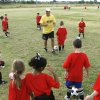 Instructor Keith Boreham leads his class of 6- and 7-year olds during the Edmond Soccer Club\'s camp for boys and girls in Edmond, OK, Monday, July 20, 2009. By Paul Hellstern, The Oklahoman
