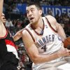 Oklahoma City\'s Nick Collison (4) tries to get past the defense of Portland\'s Nicolas Batum (88) during the NBA basketball game between the Oklahoma City Thunder and the Portland Trail Blazers at the Ford Center in Oklahoma City, Friday, February 6, 2009. By Nate Billings