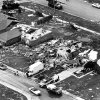 TORNADO DAMAGE: Aerial view of a few of the damaged/destroyed homes in Edmond\'s Fairfield housing addition caused by the tornado which struck Thursday night, 5/8/86. Area struck hardest located just west of the Santa Fe/15th Street intersection in southwest Edmond. Staff photo by Al McLaughlin taken 5/9/86. File: Storms/Tornado/State/Edmond/May 8, 1986