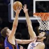 Oklahoma City\'s Nenad Krstic (12) defends David Lee (42) of New York during the NBA basketball game between the Oklahoma City Thunder and the New York Knicks at the Ford Center in Oklahoma City, January 11, 2010. Photo by Nate Billings, The Oklahoman