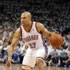 Oklahoma City\'s Derek Fisher (37) dribbles up court during Game 2 of the first round in the NBA basketball playoffs between the Oklahoma City Thunder and the Dallas Mavericks at Chesapeake Energy Arena in Oklahoma City, Monday, April 30, 2012. Photo by Sarah Phipps, The Oklahoman