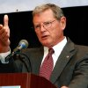 Photo - U.S. Senate candidate Republican Jim Inhofe speaks at a State Chamber luncheon at the Crowne Plaza in Tulsa, Okla., on Tuesday, Oct. 14, 2008. (AP Photo/Tulsa World, James Gibbard) ORG XMIT: OKTUL101