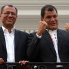 Ecuador\'s President and candidate for re-election Rafael Correa, right, and vice presidential candidate Jorge Glass celebrate after presidential elections in Quito, Ecuador, Sunday, Feb. 17, 2013. Although official results had still not been released, Correa celebrated his second re-election as Ecuador\'s president after an exit poll showed him leading by a wide margin. (AP Photo/Martin Jaramillo)