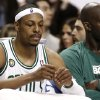 Boston Celtics\' Paul Pierce, left, and Kevin Garnett sit on the bench during the fourth quarter of their 90-76 loss to the New York Knicks in Game 3 of a first round NBA basketball playoff series in Boston Friday, April 26, 2013. (AP Photo/Winslow Townson)