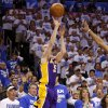Los Angeles\' Steve Blake (5) misses the last shot during Game 2 in the second round of the NBA playoffs between the Oklahoma City Thunder and L.A. Lakers at Chesapeake Energy Arena in Oklahoma City, Wednesday, May 16, 2012. Oklahoma City won 77-75. Photo by Bryan Terry, The Oklahoman