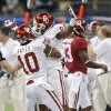 Oklahoma\'s Quentin Hayes (10) and Gabe Lynn (9) reacts after Lynn\'s interception during the NCAA football BCS Sugar Bowl game between the University of Oklahoma Sooners (OU) and the University of Alabama Crimson Tide (UA) at the Superdome in New Orleans, La., Thursday, Jan. 2, 2014. .Photo by Chris Landsberger, The Oklahoman