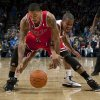 Oklahoma City\'s Eric Maynor defends Chicago\'s Derrick Rose during the NBA basketball game between the Oklahoma City Thunder and the Chicago Bulls in the Oklahoma City Arena on Wednesday, Oct. 27, 2010. Photo by Bryan Terry, The Oklahoman