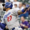 Photo -   Los Angeles Dodgers' Matt Kemp (27) hits a homer off a pitch by Colorado Rockies starting pitcher Juan Nicasio during the first inning of a baseball game Monday, April 30, 2012 in Denver, Colo.. (AP Photo/Barry Gutierrez)