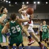 Adair\'s Molly Kerr (25) draws a charge from Ashley Hughes during the 3A girls semifinal game between the Adair High School Lady Warriors and the Sulphur Lady Bulldogs at the State Fair Arena on Friday, March 8, 2013 in Oklahoma City, Okla. Photo by Steve Sisney, The Oklahoman