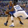 Oklahoma City\'s Russell Westbrook (0) tries to get around DeShawn Stevenson (92) of Dallas during game 2 of the Western Conference Finals in the NBA basketball playoffs between the Dallas Mavericks and the Oklahoma City Thunder at American Airlines Center in Dallas, Thursday, May 19, 2011. Photo by Bryan Terry, The Oklahoman