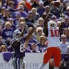 Oklahoma State\'s Markelle Martin (10) makes an interception in front of Kansas State\'s Zach Trujillo (85) during the second half of the college football game between the Oklahoma State University Cowboys (OSU) and the Kansas State University Wildcats (KSU) on Saturday, Oct. 30, 2010, in Manhattan, Kan. Photo by Chris Landsberger, The Oklahoman