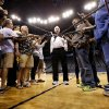 Photo - Gregg Popovich speaks with the media during the San Antonio Spurs shootaround on May 26, 2014 in Oklahoma City, Okla. Photo by Steve Sisney, The Oklahoman