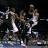 Thunder\'s Kevin Durant shoots guarded by Brooklyn\'s Paul Pierce in the second half of an NBA basketball game where the Oklahoma City Thunder were defeated 95-93 by the Brooklyn Nets at the Chesapeake Energy Arena in Oklahoma City, on Thursday, Jan. 2, 2014. Photo by Steve Sisney, The Oklahoman