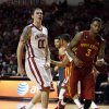 Oklahoma Sooner\'s Ryan Spangler reacts after being fouled on a put back shot as the University of Oklahoma Sooners (OU) men defeat the Iowa State Cyclones (ISU) 87-82 in NCAA, college basketball at The Lloyd Noble Center on Saturday, Jan. 11, 2014 in Norman, Okla. Photo by Steve Sisney, The Oklahoman