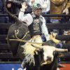 PROFESSIONAL BULL RIDING: Cord McCoy of Tupelo, Okla., rides Blue Chip for an 86.75 score during the PBR (Professional Bull Riders) U.S. Smokeless Tobacco Challenger Championship at the Ford Center in Oklahoma City, Saturday, Feb. 17, 2007. By Nate Billings, The Oklahoman ORG XMIT: KOD