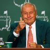Photo - Golf legend Arnold Palmer gives the thumbs up while he reminisces about his Masters experiences during a press conference on the 50th anniversary of claiming his fourth and final green jacket at Augusta National Golf Club on Tuesday, April 8, 2014, in Augusta.  (AP Photo/Atlanta Journal & Constitution,Curtis Compton)   MARIETTA DAILY OUT; GWINNETT DAILY POST OUT; LOCAL TV OUT; WXIA-TV OUT; WGCL-TV OUT