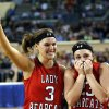 Erick\'s Emily Carpenter, left, and Shyli May celebrate the Class B girls state championship over Lomega at the State Fair Arena., Saturday, March 2, 2013. Photo by Sarah Phipps, The Oklahoman
