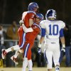 Oklahoma Christian School\'s Will McKinnis , left, and Blake Barnes celebrate after McKinnis caught a touchdown pass against Stroud during a high school football playoff game in Edmond, Friday, Nov. 23, 2012. Photo by Bryan Terry, The Oklahoman