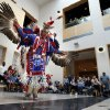 Photo -  Kevin Connywerdy does an eagle dance at this year's Spring Break Escape, sponsored by the Sam Noble Oklahoma Museum of Natural History.  PHOTO BY STEVE SISNEY, THE OKLAHOMAN  <strong>STEVE SISNEY -   </strong>