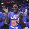 Wanda Pratt, Kevin Durant\'s mother, celebrates after the Oklahoma City Thunder defeated the Los Angeles Lakers 106-90 in Game 5 in their NBA basketball Western Conference semifinal playoff series, Monday, May 21, 2012, in Oklahoma City. (AP Photo/Sue Ogrocki)