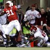 Nebraska\'s Prince Amukamara (21) gets past Oklahoma\'s Ryan Broyles (85) after making an interception during the first half of the college football game between the University of Oklahoma Sooners (OU) and the University of Nebraska Cornhuskers (NU) on Saturday, Nov. 7, 2009, in Lincoln, Neb. Photo by Chris Landsberger, The Oklahoman