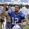Photo -   Indianapolis Colts' Andrew Luck reacts as he runs off the field after the Colts defeated the Minnesota Vikings 23-20 in an NFL football game in Indianapolis, Sunday, Sept. 16, 2012. (AP Photo/Michael Conroy)