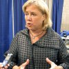 Photo - U.S. Sen. Mary Landrieu speaks to the media about her campaign and her record after talking at the Louisiana Municipal Association's annual convention on Saturday, Aug. 2, 2014, in Baton Rouge, La. Landrieu, a Democrat, focused on her seniority in the U.S. Senate as she faces a tough re-election fight. (AP Photo/Melinda Deslatte)