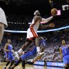 Oklahoma City\'s Kevin Durant (35) fouls Miami\'s LeBron James (6) late in the fourth quarter of Game 3 of the NBA Finals between the Oklahoma City Thunder and the Miami Heat at American Airlines Arena, Sunday, June 17, 2012. Photo by Bryan Terry, The Oklahoman