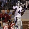 Kansas State\'s Meshak Williams (42) reacts after the Wildcats scored a touchdown on a fumble by Oklahoma\'s Landry Jones (12) during the college football game between the University of Oklahoma Sooners (OU) and the Kansas State University Wildcats (KSU) at the Gaylord Family-Memorial Stadium on Saturday, Sept. 22, 2012, in Norman, Okla. Photo by Chris Landsberger, The Oklahoman