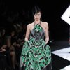 A model wears a creation by fashion designer Giorgio Armani as part of his Spring/Summer 2013 Haute Couture fashion collection, in Paris, Tuesday, Jan. 22, 2013. (AP Photo/Zacharie Scheurer)