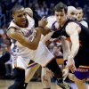 Phoenix Suns\' Goran Dragic, right, of Slovenia, steals the ball from Oklahoma City Thunder\'s Russell Westbrook, left, during the first half in an NBA basketball game, Sunday, Feb. 10, 2013, in Phoenix. (AP Photo/Ross D. Franklin)