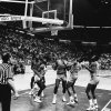 MARCH 21, 1985. OU COLLEGE BASKETBALL: Players watch as the bounces around the goal shot by University of Oklahoma\'s Wayman Tisdale, for the game-winning score against Louisiana Tech in Dallas during the NCAA tournament. (PHOTO BY DOUG HOKE/THE OKLAHOMAN)