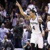 San Antonio\'s Danny Green (4) reacts after a play during Game 5 of the Western Conference Finals in the NBA playoffs between the Oklahoma City Thunder and the San Antonio Spurs at the AT&T Center in San Antonio, Thursday, May 29, 2014. Photo by Sarah Phipps, The Oklahoman