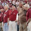 Members of the 1956 Sooner football team are introduced during the first half of the college football game between the University of Oklahoma Sooners (OU) and the Ball State Cardinals at Gaylord Family-Oklahoma Memorial Stadium on Saturday, Oct. 1, 2011, in Norman, Okla. Photo by Steve Sisney, The Oklahoman