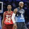 Eastern Conference\'s LeBron James (6), of the Miami Heat, laughs with Western Conference\'s Kobe Bryant (24), of the Los Angeles Lakers, during the fourth quarter of the NBA All-Star basketball game, Sunday, Feb. 26, 2012, in Orlando, Fla. The Western Conference won 152-149. (AP Photo/Chris O\'Meara) ORG XMIT: DOA150