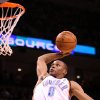 OKLAHOMA CITY THUNDER NBA BASKETBALL: Russell Westbrook goes in for a dunk during the Thunder - New Orleans Hornets game November 11, 2008 in Oklahoma City. BY HUGH SCOTT, THE OKLAHOMAN ORG XMIT: KOD