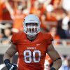 Oklahoma State\'s Cooper Bassett (80) celebrates a play during a college football game between Oklahoma State University (OSU) and Savannah State University at Boone Pickens Stadium in Stillwater, Okla., Saturday, Sept. 1, 2012. Photo by Sarah Phipps, The Oklahoman