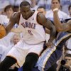 Oklahoma City\'s Kendrick Perkins (5) runs into Darrell Arthur (00) of Memphis during game five of the Western Conference semifinals between the Memphis Grizzlies and the Oklahoma City Thunder in the NBA basketball playoffs at Oklahoma City Arena in Oklahoma City, Wednesday, May 11, 2011. Photo by Bryan Terry, The Oklahoman