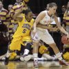Central Michigan\'s Jalisa Olive, left, tries to steal the ball from Oklahoma\'s Morgan Hook during the first half of a first-round game in the women\'s NCAA college basketball tournament Saturday, March 23, 2013, in Columbus, Ohio. (AP Photo/Jay LaPrete) ORG XMIT: OHJL104