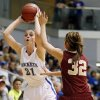 Mount St. Mary\'s Kaely Bond (21) passes away from Byng\'s Raetchel Gray (32) during a Class 4A girls high school basketball game in the first round of the state tournament at the Sawyer Center on the campus of Southern Nazarene University in Bethany, Okla., Thursday, March 7, 2013. Photo by Nate Billings, The Oklahoman