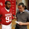 Jamarkus McFarland (97) speaks with The Oklahoman\'s Ryan Aber during the Meet the Sooners event at the University of Oklahoma on Saturday, Aug. 4, 2012, in Norman, Okla. Photo by Steve Sisney, The Oklahoman