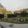 Photo -  Young people gather in King Tomislav Square in Zagreb, Croatia, in view of the Art Pavilion, which hosts exhibitions of contemporary art. Photo courtesy of Joe Tash.