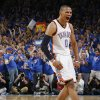 Oklahoma City\'s Russell Westbrook (0) reacts in the second half during game 7 of the NBA basketball Western Conference semifinals between the Memphis Grizzlies and the Oklahoma City Thunder at the OKC Arena in Oklahoma City, Sunday, May 15, 2011. The Thunder won, 105-90. Photo by Nate Billings, The Oklahoman